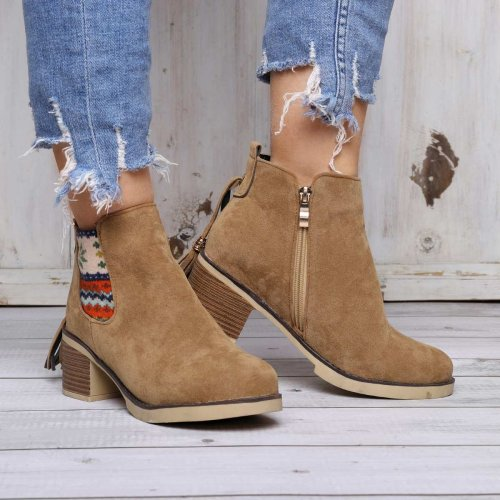 Women Ankle Boots Bohemia Side Zipper Chunky Heel Shoes