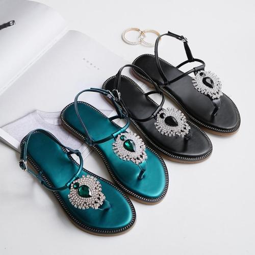 Luxury Rhinestone Summer Shoes Women Sandals Flip Flops Ladies 2019 Beach Sandals Woman Casual Summer Holiday Shoes Black A1352