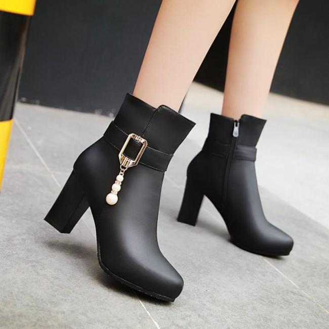 Pu Leather Chunky Heels Short Boots Plus Size Women Shoes 6168