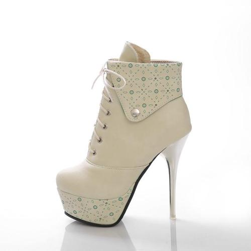 Women's Lace Up Platform Ankle Boots Stiletto Heel Shoes Autumn and Winter 9127