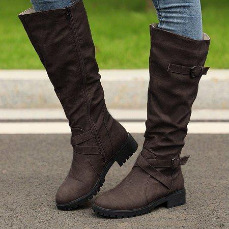 PU Buckle Zipper Side Low Heel Boots