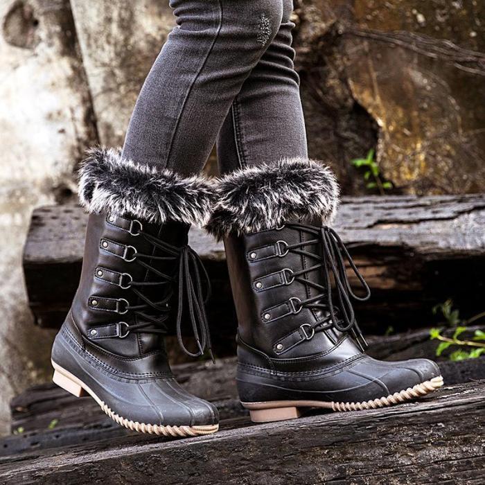 Black Closed Toe Women Flat Flat Heel Boots
