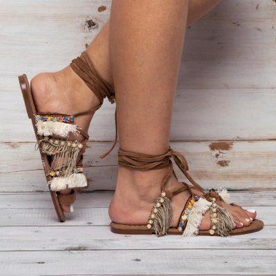Womens Summer Daily Lace Up Flat Heel Tassel Sandals