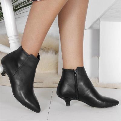 Kitten Heel Pointed Toe Elegant Artificial Leather Zipper Low Heel Ankle Boots