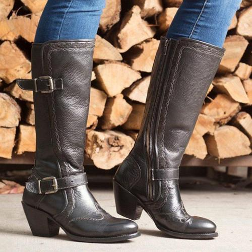 Adjustable Buckle Artificial Leather Mid-Calf Boots With Zipper
