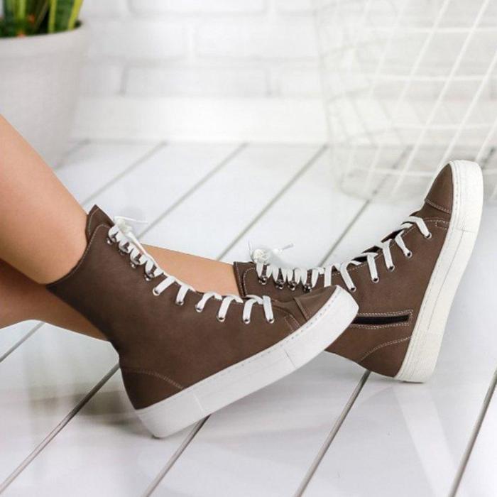 All Season Platform Canvas Sneakers Zipper Lace-Up Mid-Calf Boots