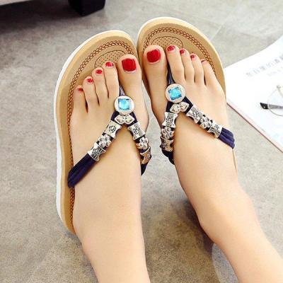 Summer Rhinestone Flat Heel Slipper