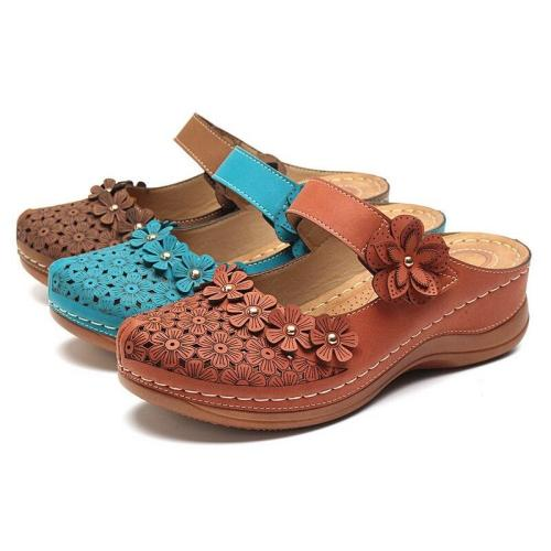 Cuteshoeswear CuteshoeswearLITTHING High Quality Retro Women's Sandals Summer Handmade Ladies Shoes Leather Floral  Sandals Women Flats Shoes Woman