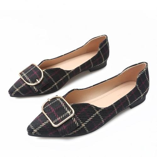 2019 New Large Size Women's Shoes Casual Shoes Spring Fashion Women Flat Metal Buckle Pointed Toe Shoes For Office Ladies YX0010