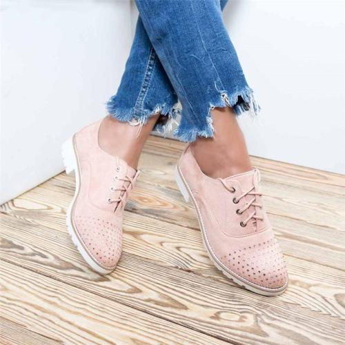 Plus Size Rhinestone Suede Flat Heel Lace Up Loafers