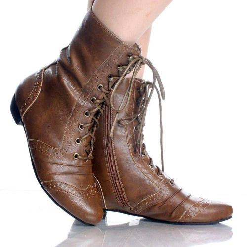 Lace-Up Mid-Calf Pu Leather Pointed Toe Casual Boots