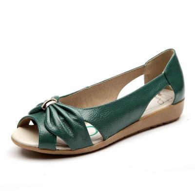 Genuine Leather Peep toe Sandals for Women Summer Shoes 2019 Open toe Casual Woman Sandals Flat Plus Size 35-42 A1166
