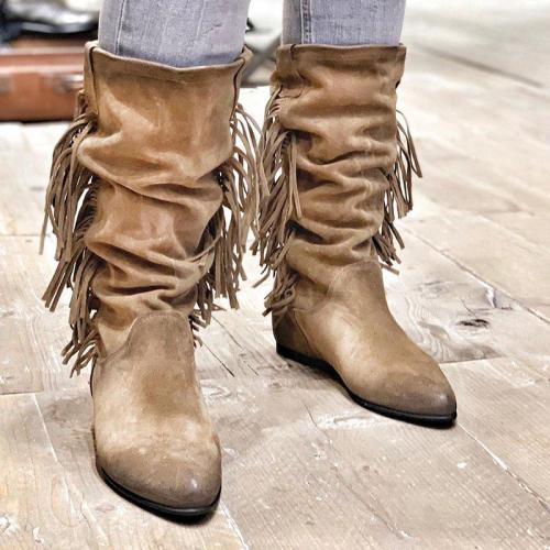 Khaki Tassel Slip On All Season Knee Boots
