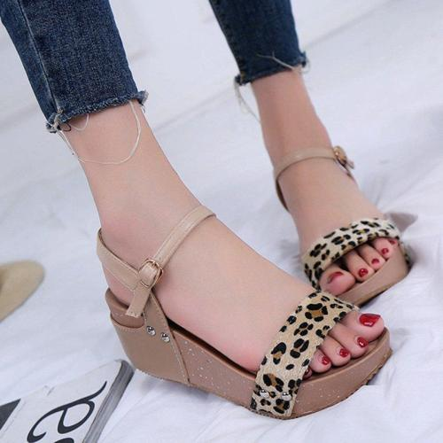 Summer Adjustable Buckle Leopard Creepers Sandals