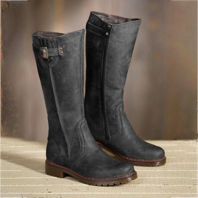 Women Round Toe Zipper Low Heel Pu Casual Boots