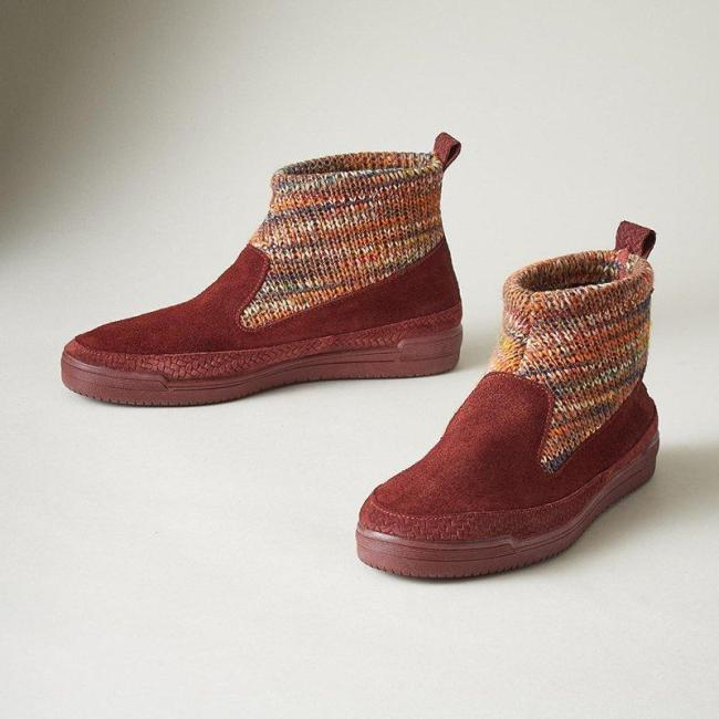 Women Casual Comfy Purl Slip On Flat Booties
