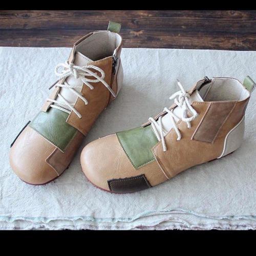 Coffee Pu Flat Heel Boots
