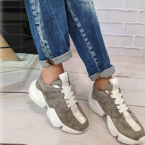 Faux Suede Low Heel Lace-Up All Season Platform Sneakers