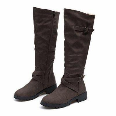 PU Buckle Zipper Side Low Heel Boots
