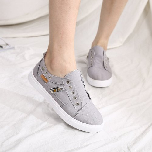 2019 Flat Shoes Women Sneakers Zipper Flats Female Casual Shoes Fashion Slip On Loafers Women Big Size Flats