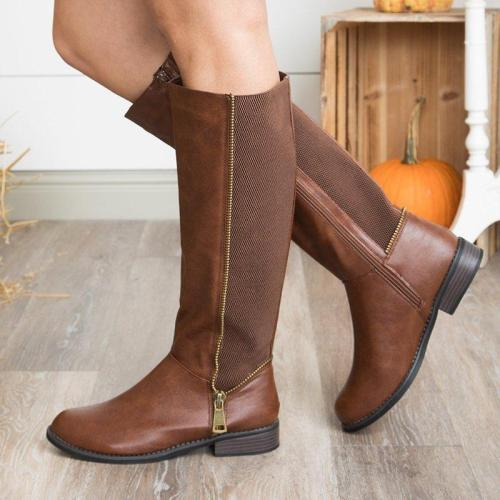 Vintage Chunky Heel Split Joint Booties Zipper Women Knee-High Boots