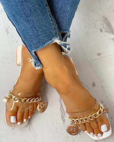 Metal Chain Trim Chunky Heeled Sandals