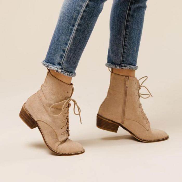 Chunky Heel Women Low  Boots