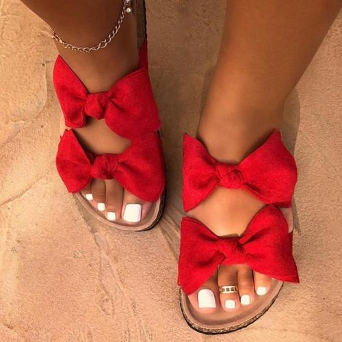 2020 Women Sandals Shoes Bow-Knot Anti-Slip Flat Sandals Comfortable Retro Beach Shoes Plus Size Zapatos Mujer