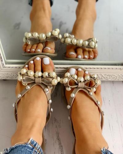 Beaded Design Bowknot Flat Sandals