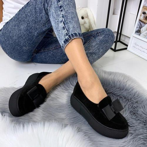 Faux Suede Platform Slip-On Loafers Women's Shoes