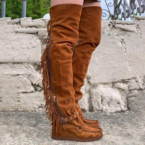 Adjustable Buckle Fringe Over The Knee Boots Thigh-High Flat Heel Long Boots