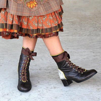 Womens Lace-Up Artificial Leather Elegant Chunky Heel Boots