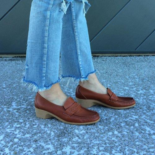Wedge Heel Loafers Artificial Leather Womens Square Toe Vintage Footwear