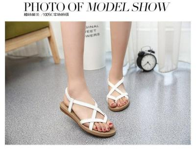 Shoes woman 2019 summer folder toe flat solid color elastic rome sandals women shoes leisure wild fashion slippers ladies shoes