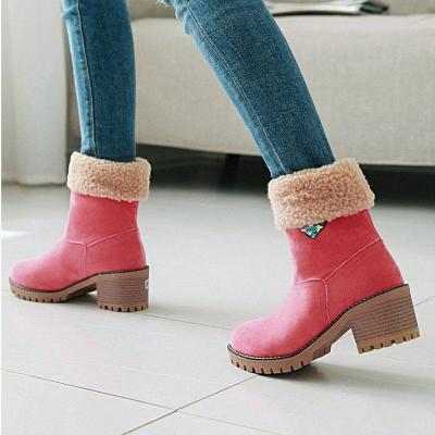 Women chunky heel casual snow boots