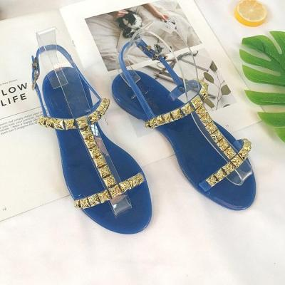 New Fashion Women's Sandals Summer Flat Bottom Rome Open Toe Slippers Casual Gold Rivets  Womens Shoes