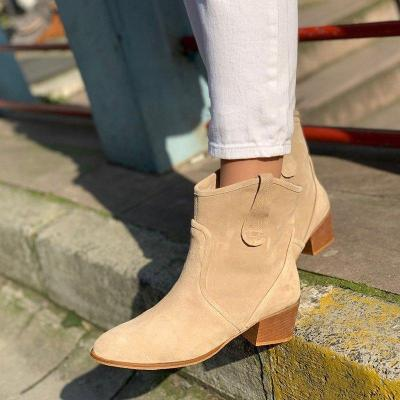 Plus Size Chic Suede Chunky Heel Ankle Boots