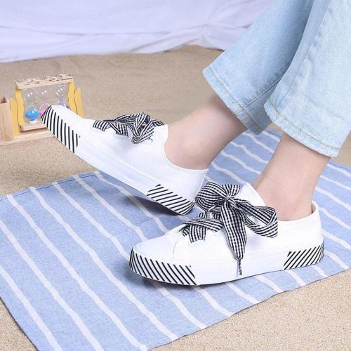 Women Spring Flat Shoes Ladies Lace Up Stripe Canvas Shoes Female Butterfly Knot  Fashion Casual Youth Woman Platform Shoes