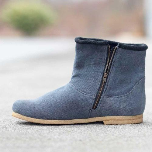 Women Winter Zipper Canvas Ankle Boots