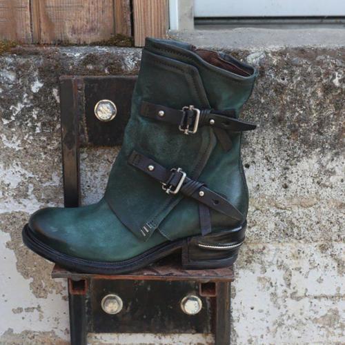 Dark Green Winter Daily Split Joint Chunky Heel Boots