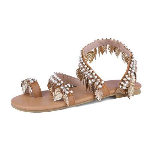 Light Brown Artificial Pu Flat Heel Holiday Sandals