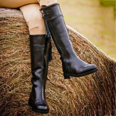 Zipper Pu Chunky Heel Boots