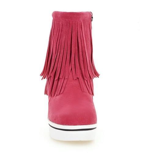 Women Tassel Platform Wedge Short Boots Plus Size Autumn and Winter Shoes 2167