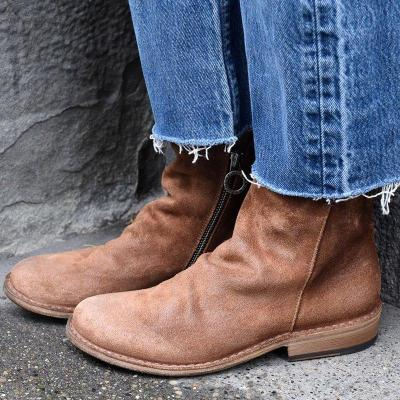 Vintage Low Heel Slip-On Ankle Booties Faux Suede Plus Size Boots