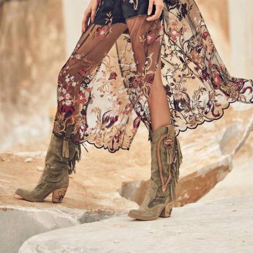 Women Winter  Vintage Tassel Knee-High Boots