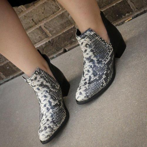Women Snake Print Slip-On Split Joint Chunky Heel Ankle Boots