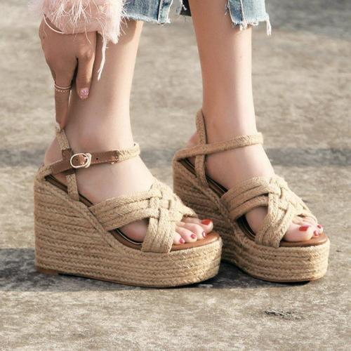 Womens Apricot Summer Wedge Heel Pu Buckle Dress Sandals