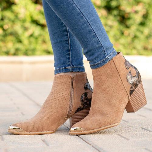 Vintage Women Block Heel Faux Suede Zipper Ankle Boots