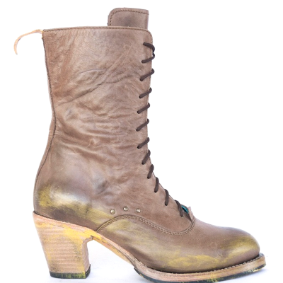 Vintage Women Lace-Up Pointed Toe Block Heel Mid-Calf Boots