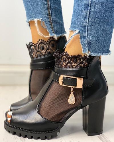 Peep Toe Lace Mesh Insert Chunky Heeled Boot